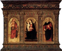 the madonna and child enthroned flanked by saints john the baptist and paul by marcantonio aquilio