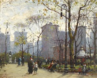 washington square park, new york by paul cornoyer