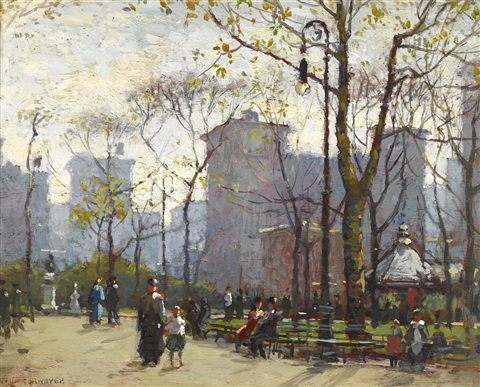 washington square park new york by paul cornoyer