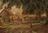 young girl and ducks in a farmyard by herbert sidney percy