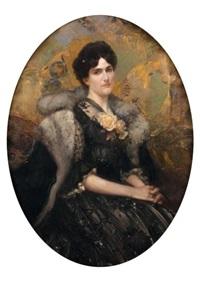 portrait de femme aux fleurs jaunes by rené lelong
