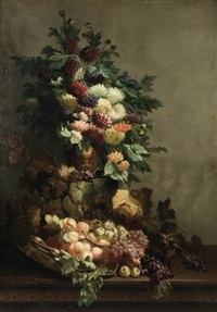 nature morte au bouquet de fleurs et au panier de fruits by edmond de koninck
