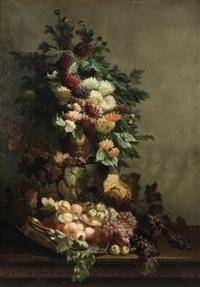 nature morte au bouquet de fleurs et au panier de fruits by edmond de koninck