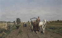 horses on a path by frans van leemputten