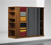 rare double wardrobe and room divider, designed for la chambre d'étudiant de la maison du brésil, cité internationale universitaire de paris by le corbusier and charlotte perriand