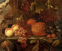 still life with peaches, a pineapple, grapes, and cherries by william h. ward