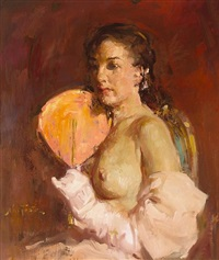 nude with fan by william frederick foster