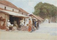 indian village scenes (pair) by carlton alfred smith
