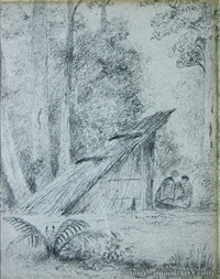 two figures by maori hut (+ untitled (study), verso) by william swainson