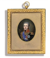 armand louis de broc, aide-de-camp to king louis of holland in major-general's uniform with gold-embroidered lapels, scarlet collar and epaulettes, black stock, gold aiguillettes, blue sash by louis marie autissier