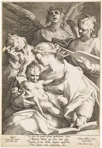the holy family with two musical angels by jan harmensz muller