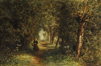 woman on a wooded path by johannes joseph destree