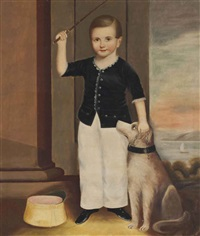portrait of daniel shotwell vail with his dog by joseph whiting stock
