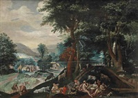 a wooded landscape with mythological figures eating and drinking by jacob grimmer