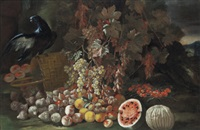 nature morta con uccelli e frutta by giusto lionelli