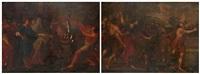 moise et le serpent d'airain, saül lançant le javelot sur david (2 works) by giacinto gemignani