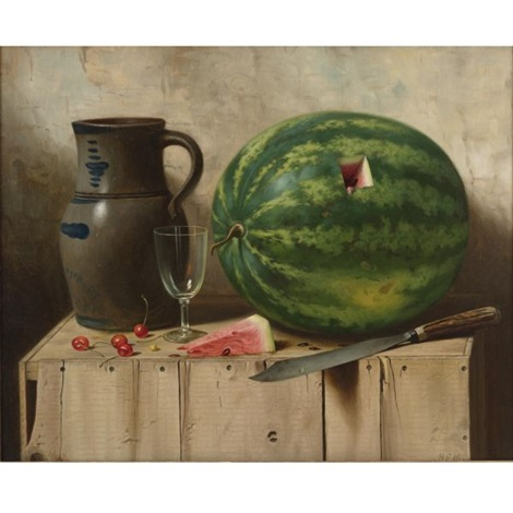 still life with watermelon jug and knife by albert francis king on