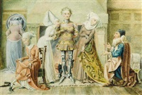 ladies making purchases in the middle ages by philip harry newman