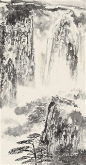 黄山云来图 立轴 水墨纸本 by ya ming