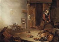 a kitchen interior with a maid cleaning, a copper pot, wooden barrels, earthenware plates and other objects, together with a child and a dog by pieter symonsz potter