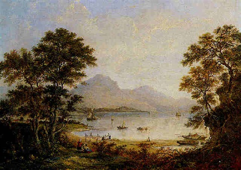 a loch scene with figures and sailing boats by margaret nasmyth