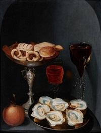 nature morte au verre de vin, plat d'huîtres et coupe de biscuits dans une niche by osias beert the elder