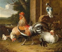 hühnerhof mit ausblick by melchior de hondecoeter