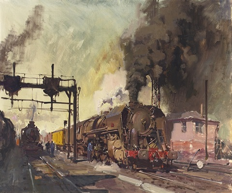 trains in the yard by terence cuneo
