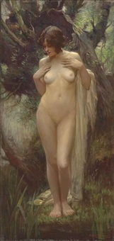 nymph in a wood by arthur spooner