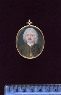 a gentleman, wearing embroidered brown coat, gold figured white waistcoat, white stock and powdered wig by peter paul lens