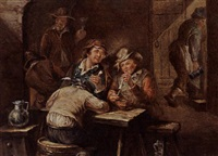 a tavern interior with figures smoking by jan ernst de groot