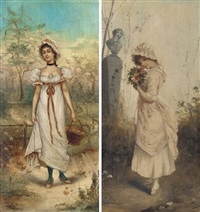the flower collector (+ collecting summer fruits; pair) by carlo valensi