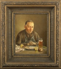 monk having a glass of wine (+ another; pair) by franz leitgeb
