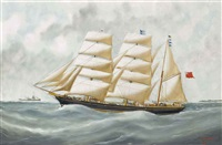 the english clipper harriet mcgregor in french waters off le havre by victor charles edouard adam