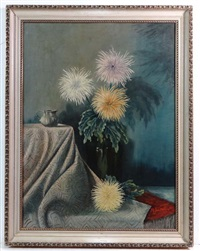 still life of dahlias in a glass vase by a table top by maarten johannes jungmann