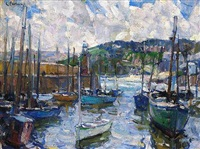cloudy st. ives harbor by e.charlton fortune