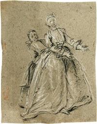 zwei frauen, in ganzer figur nach rechts (study for il concerto in famiglia) by pietro longhi