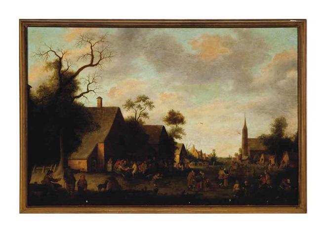 a lively village scene by joost cornelisz droochsloot