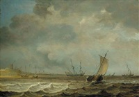 a smalschip, a frigate and other shipping in choppy seas by julius porcellis