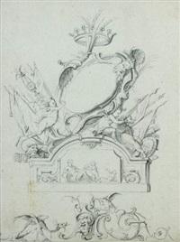 fronton avec deux anges soutenant un cartouche sous une couronne avec un monstre devant un masque by jean-bernard toro