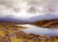 river landscape with distant mountains by george drummond fish