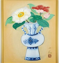a flower vase (blue and white ceramic in ming style) by senjin gokura