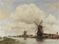 aan de rivier: mills along a river by hobbe smith