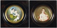 portrait d'une mère en robe de soie verte et importante coiffure enrubannée tenant son enfant by joseph francois leroy