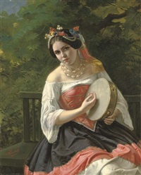 portrait of a young lady in costume playing a tambourine by kapiton fedorovich turchaninov