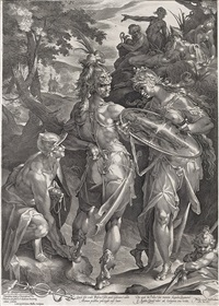 minerva giving arms to perseus, mercury fastening the wings at his feet (after spranger) by jan harmensz muller