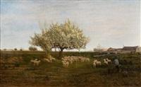 bergers et leur troupeau sous le pommier by godefroy de hagemann