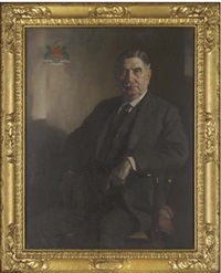 portrait of sir william hannay raeburn seated in a dark suit, a coat-of-arms to the top right corner by james bell anderson