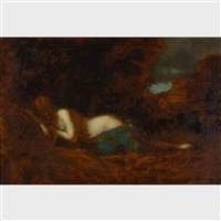 draped nude sleeping in the forest by jean jacques henner