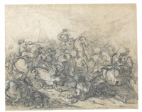 a pair of battle scenes by charles parrocel
